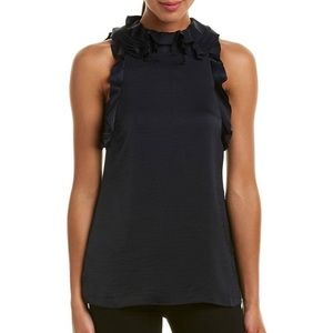 Reiss Dallas Ruffle Trim Top Sz4 Navy